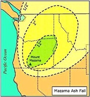 Map of Mt. Mazama Ash Fall