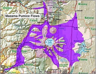 Map of Mt. Mazama Pumice Flows