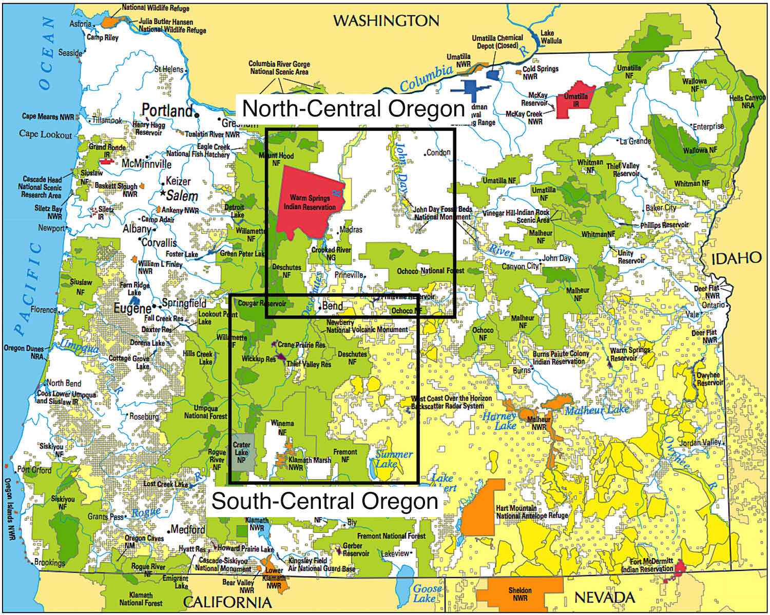 Regional Map of Central Oregon on